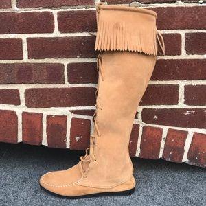 Vintage Rampage Fringe 1 Tan Suede Lace Up Boot